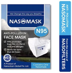 Nasomask N95 Face Mask Virus Bacteria Dust Pollen Pollution Protection Pack of 2