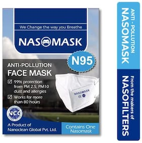 Nasomask N95 Face Mask Virus Bacteria Dust Pollen Pollution Protection Pack of 1