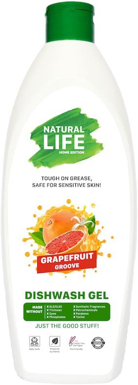 Natural Life Dishwash Liquid Gel , Grapefruit Grove | Eco-Friendly, Non-Toxic, Skin Friendly | Baby Safe & Pet Safe 500 ml