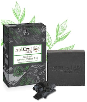 Natural Vibes ~ Tea Tree and Activated Charcoal Soap 150 g ~ Reduces acne and removes impurities