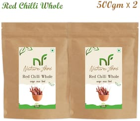 Nature Food Good Quality Whole Red Chilli / Sabut Lal Mirchi Pack of 2 (500g x2)
