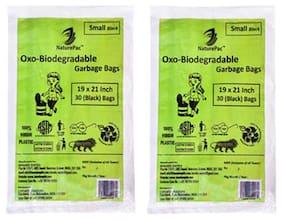 NaturePac Garbage Bag - Small  Black  Biodegradable 30 pcs
