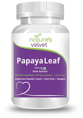 Natures Velvet Lifecare Papaya Leaf Extract 500Mg 60 Capsules