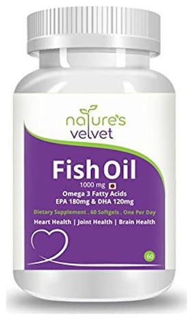 Natures Velvet Lifecare Fish Oil Omega 3 60 Softgels 1000 mg Most Potent With More Omega 3 Content
