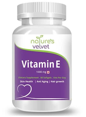 Natures Velvet Lifecare Vitamin E 1000 mg 60 Softgels