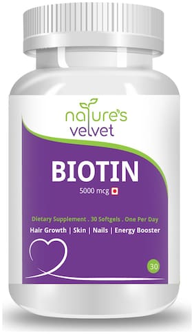 Natures Velvet Lifecare Biotin 5000mcg;for Healthy Hair;Skin & Nails and Energy;30 Softgels - Pack of 1