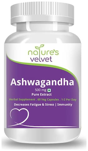 Natures Velvet Lifecare Ashwagandha Pure Extract 500Mg 60 Capsules