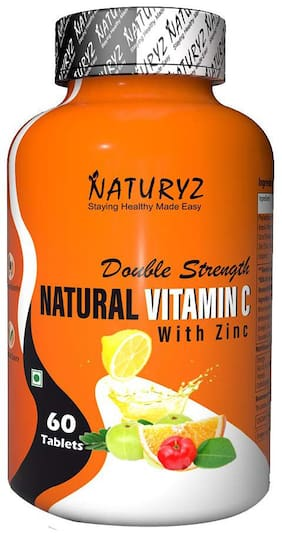 Naturyz Double Strength Natural Vitamin C & Zinc Supplement 1250 mg with Amla, Acerola Cherry, Citrus Bioflavonoids for Immunity Support & Skincare (60 Vegetarian tablets)
