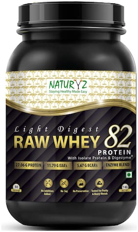 NATURYZ Light Digest Raw Whey 82 Protein with Whey Protein Isolate and Digezyme 1kg