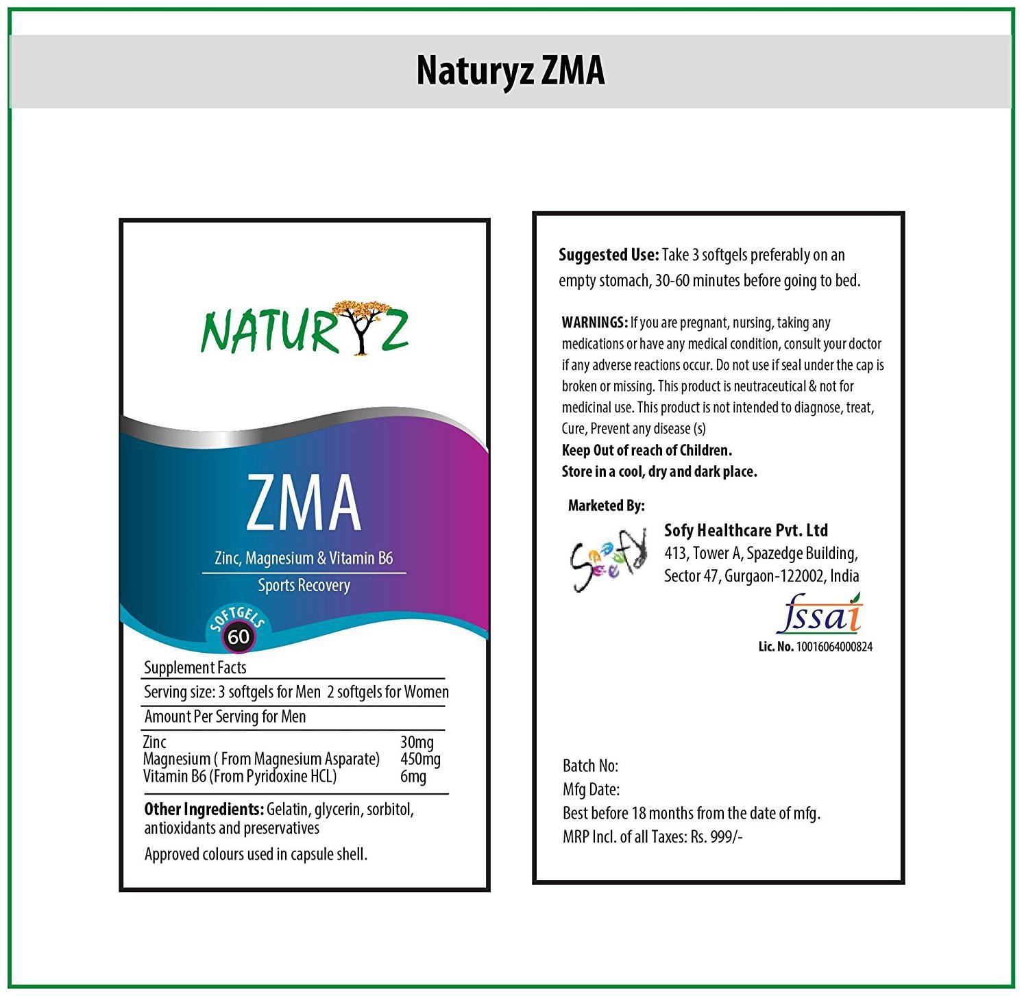 Naturyz ZMA 60 Softgels