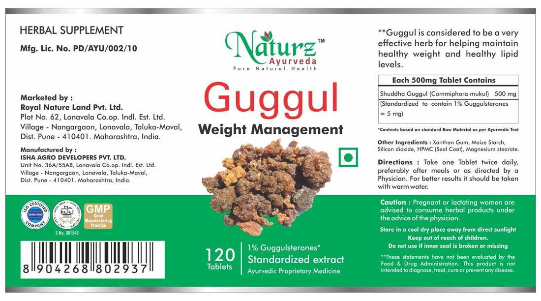 Naturz Ayurveda Guggul 120 Tablets - Pack Of 4