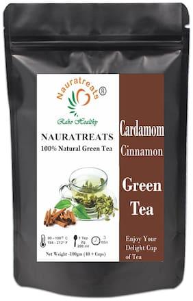 Nauratreats Raho Healthy Cardamom and Cinnamon Loose Leaf Green Tea for Weight Loss (100 g)