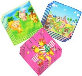 Neska Moda Kids Cotton Cartoon Character Handkerchiefs (Pack of 12)