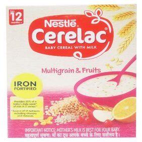 Nestle Cerelac With Milk  Multigrain & Fruits  From 12 Months 300 Gm