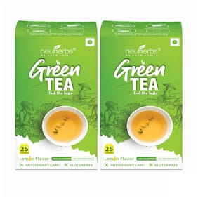 Neuherbs Green Tea for Weight Management with Lemon Flavour  Pack of 2 (50 Tea Bags)