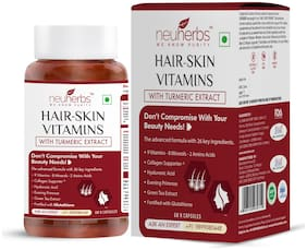 Neuherbs Hair Skin & Vitamin Supplement with Turmeric, Primrose Oil, Glutathione & Collagen- 60 Capsules for Men and Women