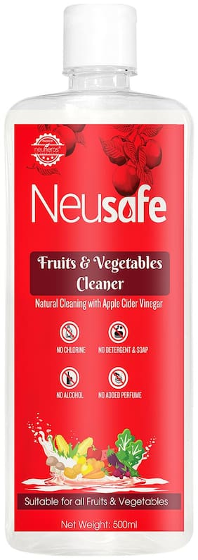 Neusafe Fruits and Vegetables Cleaner- Washing Liquid, Removes Germs, Chemicals, Waxes, No Soap added - 500 ML