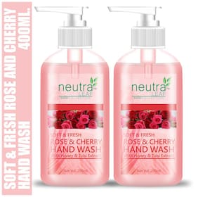 Neutra Leaf Gentle Liquid Rose & Cherry Hand Wash Kills 99% Germs Triclosan Free Hand Wash 200ml (Pack of 2)