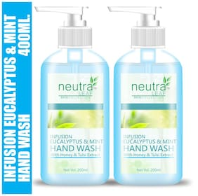 Neutra Leaf Gentle Liquid Eucalyptus and Mint Hand Wash Kills 99% Germs Triclosan Free Hand Wash 200ml (Pack of 2)