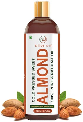 Newish Pure Cold Pressed Sweet Almond Oil for Hair and Skin 200ml
