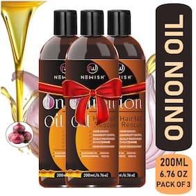 Newish Red Onion Oil for Hair Regrowth Men & Women Essential Oil Nourishing Hair Fall Treatment & Control Dandruff 99.9% Success Ratio 200ml (Pack of 3)