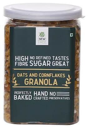 NewTree Breakfast Cereal Oats & Cornflakes Granola,Weight 350g (Pack Of 1)