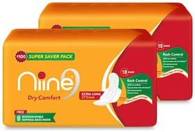 Niine Dry Comfort Extra Long Sanitary Pads for women With Biodegradable disposable bags inside-18Pads(Pack of 2)