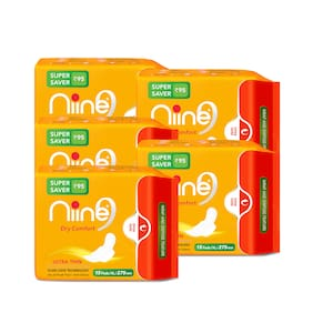 Niine Ultra Thin Sanitary Pads for women, Re-Sealable Packaging with Wrap and Dispose Feature, 15 Pads (Super Saver Pack) Pack of 5