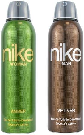 Nike Amber 200 ml Woman & Vetiver Man Deodorant 200 ml (Pack Of 2)