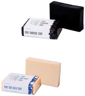 Nirvaana Handmade Natural Assorted Soap Set (Charcoal & GoatMilk) Pack of 2