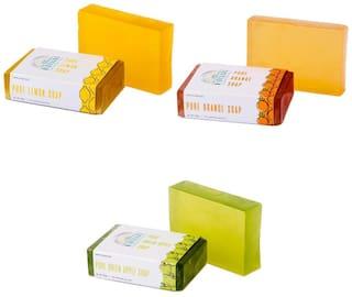 Nirvaana Handmade Natural Assorted Soap Set (Green Apple, Lemon & Orange) Pack of 3
