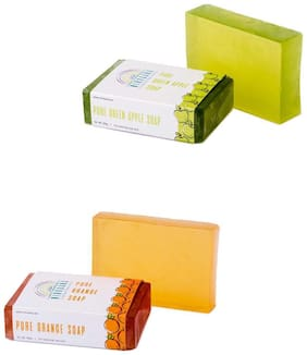 Nirvaana Handmade Natural Assorted Soap Set (Orange & Green Apple) Pack of 2