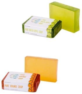 Nirvaana Handmade Natural Assorted Soap Set (Orange & Green Apple) Pack of 2
