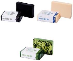 Nirvaana Handmade Natural Assorted Soap Set (Goat Milk, Aloe Neem & Charcoal) Pack of 3