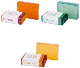 Nirvaana Handmade Natural Assorted Soap Set (Orange, Aqua Mint & Saffron) Pack of 3