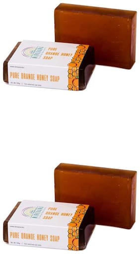 Nirvaana Handmade Natural Orange Honey Soap, 100g (Pack of 2)