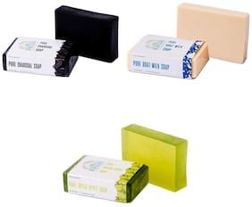 Nirvaana Handmade Natural Assorted Soap Set (Charcoal, Goat Milk & Green Apple) Pack of 3