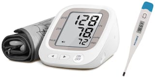 NISCOMED Fully Automatic Digital Blood Pressure Monitor Fully Automatic Digital Blood pressure Monitor Bp Monitor With Digital Thermometer (Daisy White)