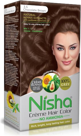 Nisha Cream Hair Color No Ammonia Cream Formula Rich,Bright,Long Lasting & Smooth Care For Your Precious Hair Chocolate Brown 3.5 -138 ml