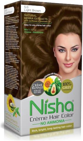 Nisha Cream Hair Color No Ammonia Cream Formula Rich,Bright,Long Lasting & Smooth Care For Your Precious Hair Light Brown 5.0 (Pack Of 2)-138 ml each