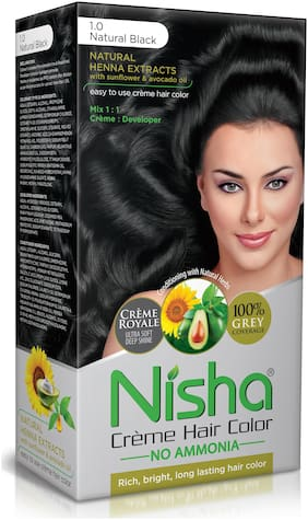 Nisha Cream Hair Color No Ammonia Cream Formula Rich,Bright,Long Lasting & Smooth Care For Your Precious Hair Natural Black 1.0 (Pack Of 3)-138 ml each