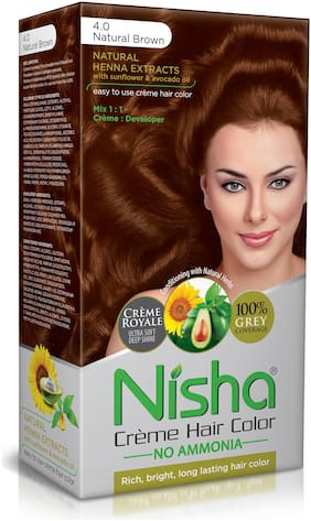Nisha Cream-Based Hair Color (60g Colourant , 60ml developer , 18ml Nisha Conditioner with Natural Herbs) [Natural Brown 4]