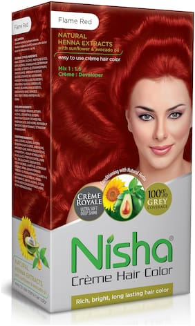 Nisha Cream-Based Hair Color (60g Colourant , 90ml developer , 18ml Nisha Conditioner with Natural Herbs) [Flame Red]