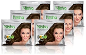 Nisha Cream Hair Color With Natural Herbs Light Brown (Pack of 6)