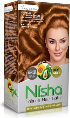 Nisha Cream-Based Hair Color (60g Colourant , 90ml developer , 18ml Nisha Conditioner with Natural Herbs) [Honey Blonde 7.3]