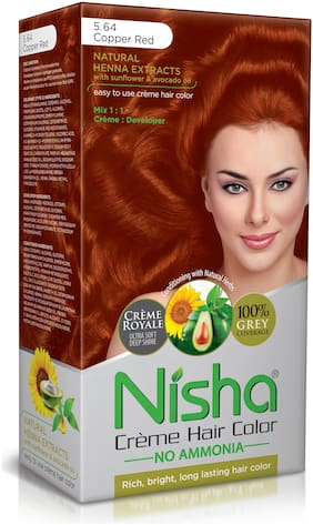 Nisha Cream-Based Hair Color (60g Colourant , 60ml developer , 18ml Nisha Conditioner with Natural Herbs) [Copper Red 5.64]