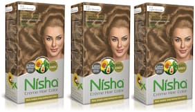 Nisha Cream Hair Color Rich Bright Long Lasting Hair Colouring For Ultra Soft Deep Shine Light Blonde Pack of 3 (90 g x 3)
