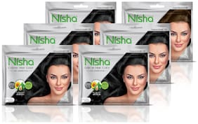 Nisha creme hair color with sunflower avocado oil & henna extracts no ammonia (NATURAL BLACK)(20g+20ml)each (20g+20ml)each Pack of 6