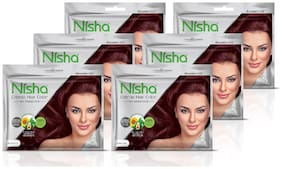 Nisha creme hair color with sunflower avocado oil & henna extracts no ammonia (BURGUNDY) (20g+20ml)each Pack of 6