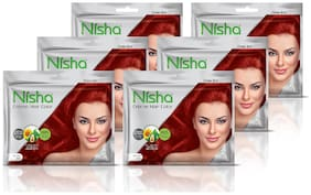 Nisha creme hair color with sunflower avocado oil & henna extracts no ammonia (FLAME RED) (20gm+20ml)each Pack of 6